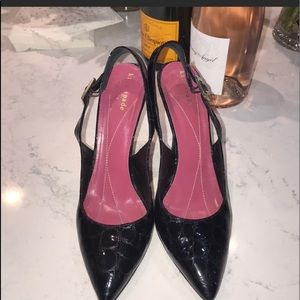 KATE SPADE POINTY TOES SLING BACK PATENT LEATHER